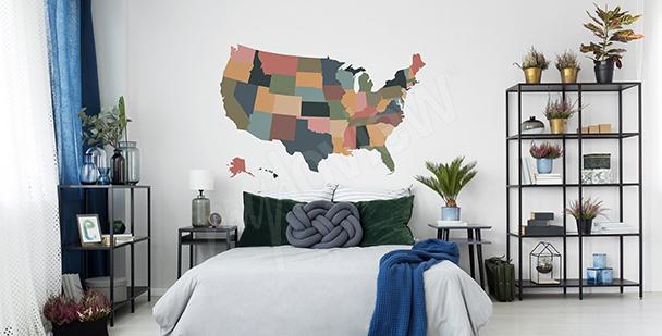 Adesivo mappa USA vintage