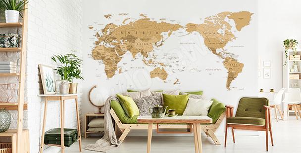 Adesivo mappa vintage per soggiorno