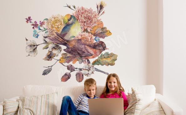 Adesivo per soggiorno con uccelli