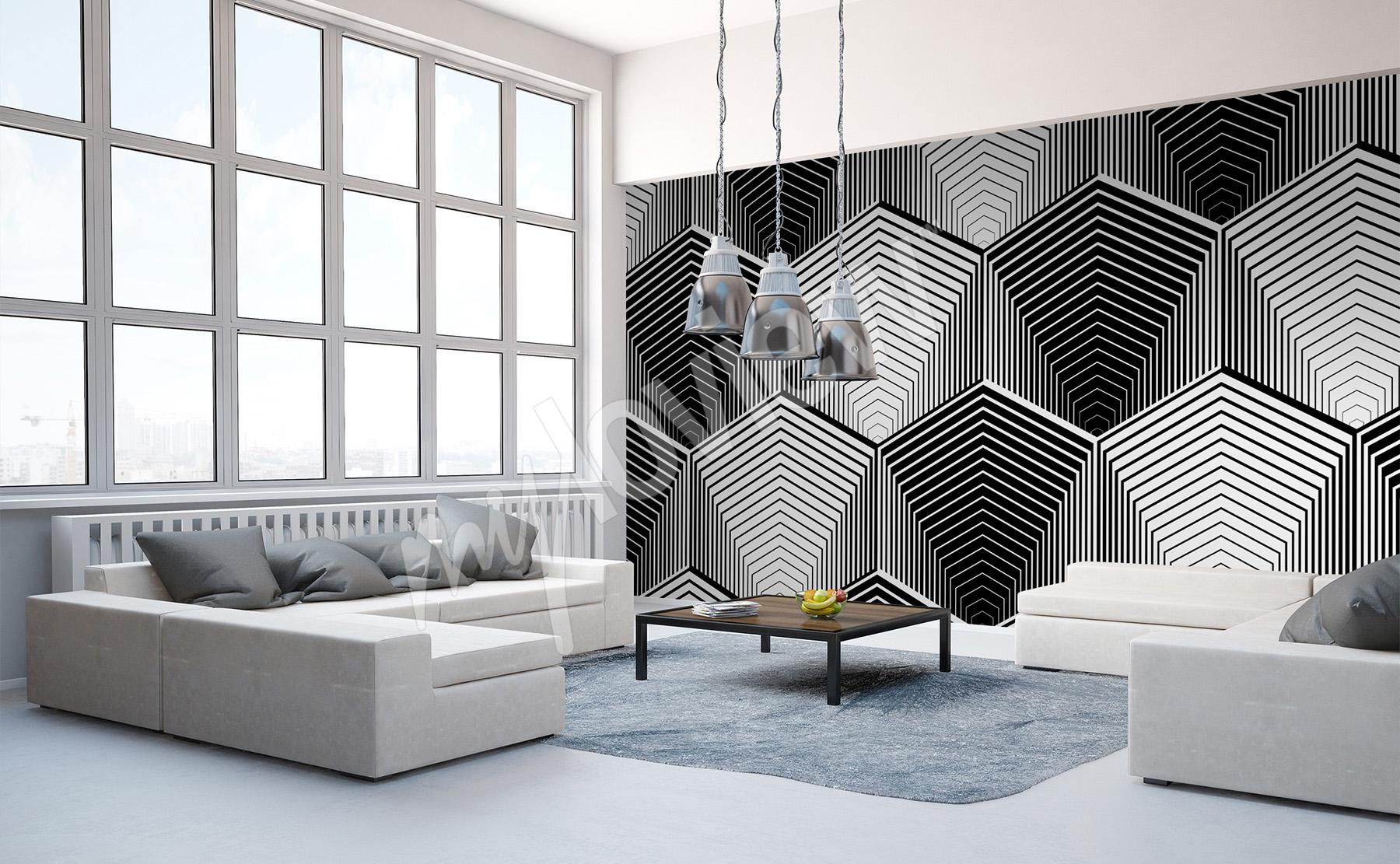carta da parati bianco nero su misura della parete