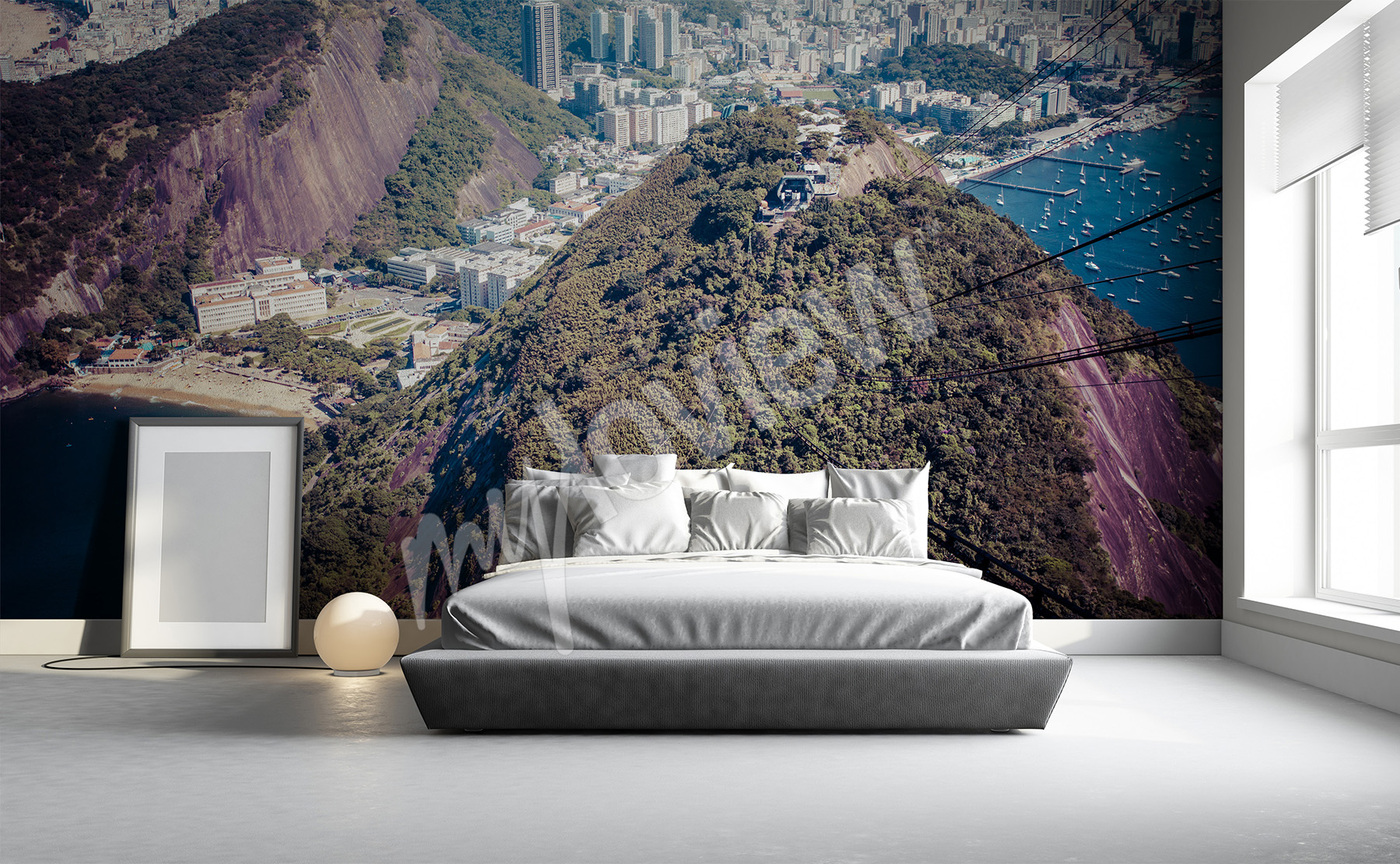 Carta da parati montagne su misura della parete - Murales camera da letto ...