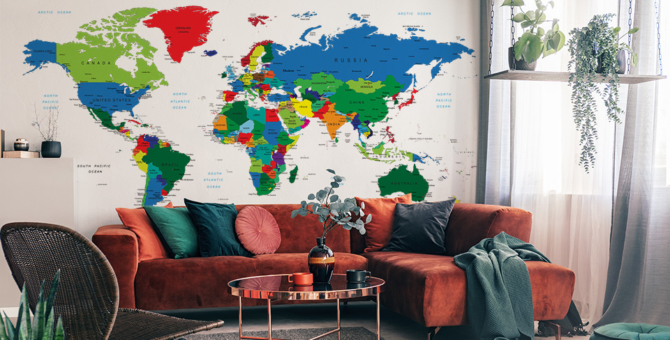 Carta da parati mappa del mondo