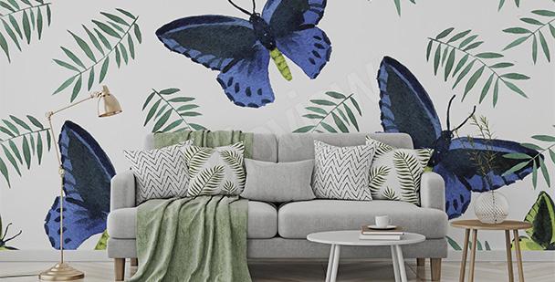 Carta da parati farfalle per salotto eco