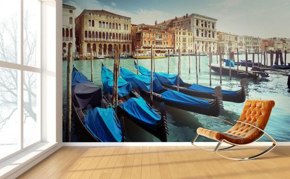 Carta da parati gondole veneziane