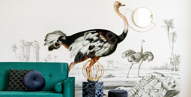 Carta da parati uccelli in stile glamour
