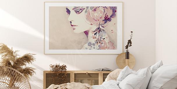 Poster femminile con colori delicati