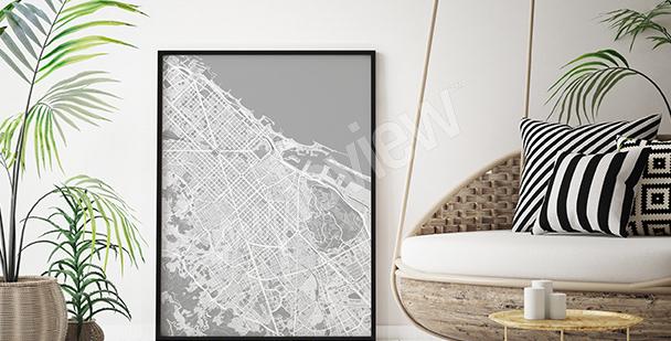 Poster mappa di Barcellona