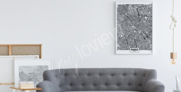 Poster mappa in bianco e nero
