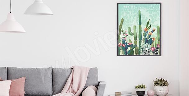 Poster per salotto con cactus