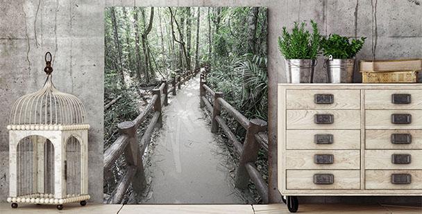 Quadro 3D con foresta