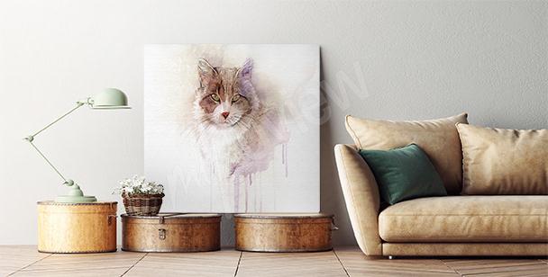 Quadro ad acquerello con gatto