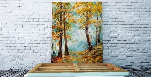 Quadro alberi in autunno