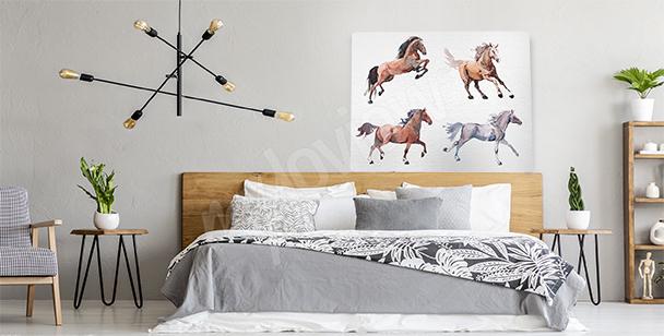 Quadro cavalli in corsa