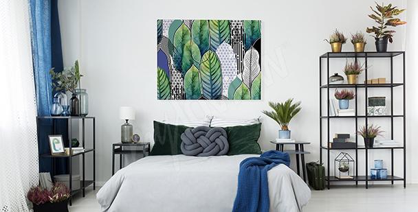 Quadro con foglie per camera da letto