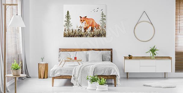 Quadro con volpe per camera da letto