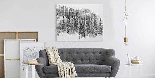 Quadro foresta bianco nero