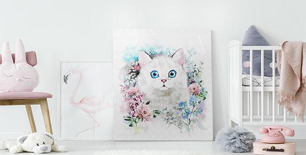 Quadro gatto nelle rose