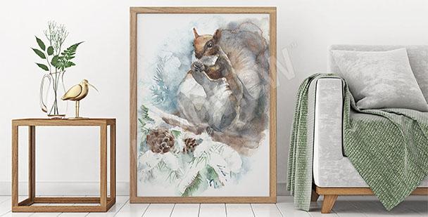 Quadro scoiattolo nella foresta