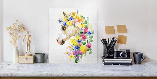 Quadro testa di cavallo a fiori