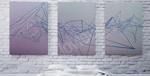 Quadro trittico 3D astrazione