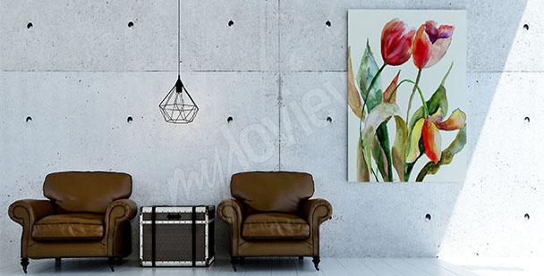 Quadro tulipani acquerello